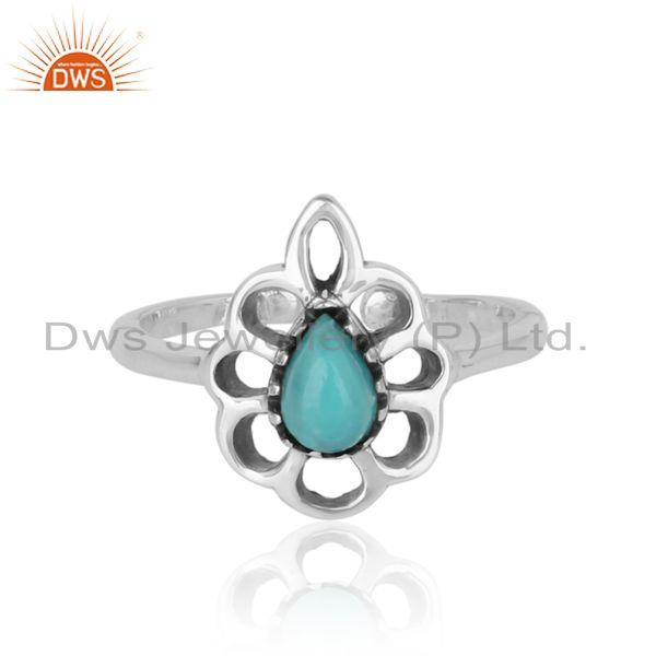 Designer floral ring in oxidized silver 925 and arizona turquoise