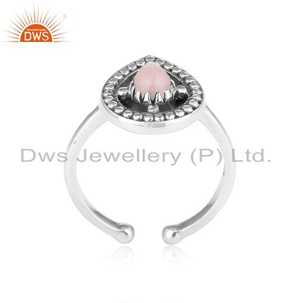 Designer dainty oxidized silver 925 ring with pink opal