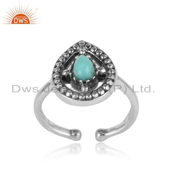 Designer dainty oxidized silver 925 ring with arizona turquoise
