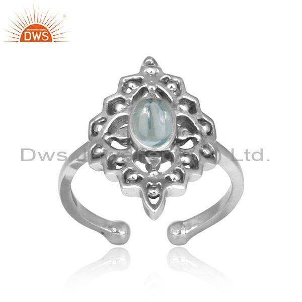 Blue Topaz Set Handmade Oxidized 925 Silver Boho Ethnic Ring