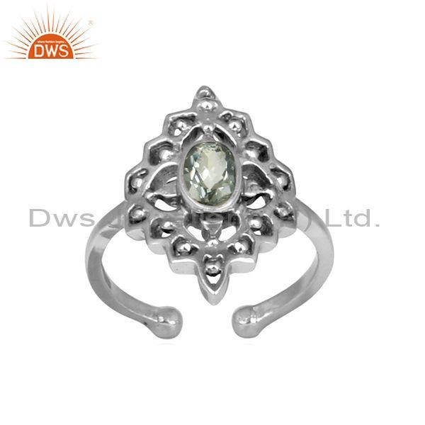 Green Amethyst Set Handmade Oxidized Silver Boho Ethnic Ring