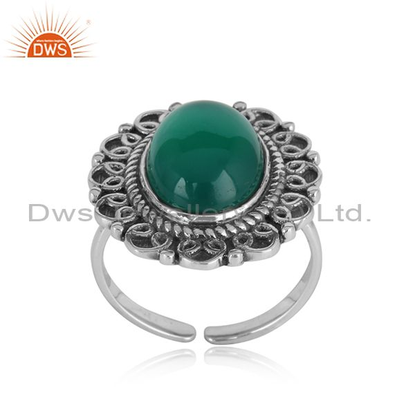 Handcrafted artistic bold ring in oxidized silver and green onyx