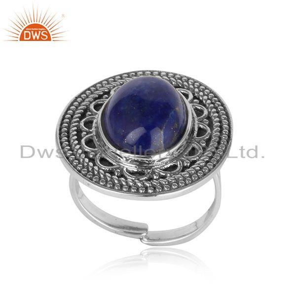 Handcrafted bold statement ring in oxidized silver 925 and lapis