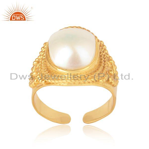 Bold Design Yellow Gold on Silver 925 Artisan Ring with Pearl