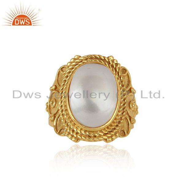 Bold Artisan Yellow Gold on Silver 925 Designer Ring with Pearl