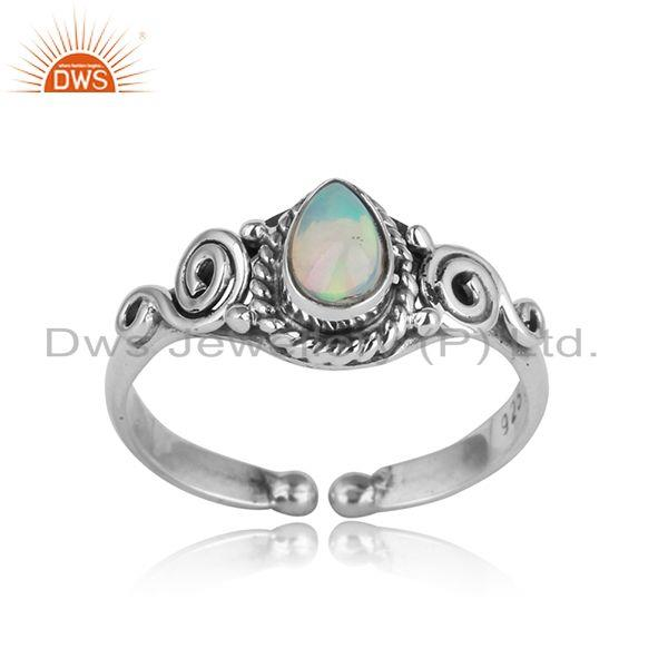 Handcrafted dainty textured ethiopian opal ring in oxidized silver