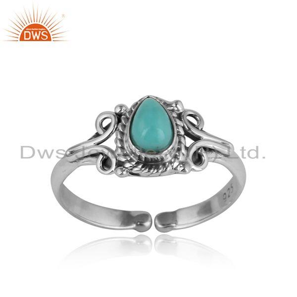 Designer handmade dainty ring in oxidized silver arizona turquoise