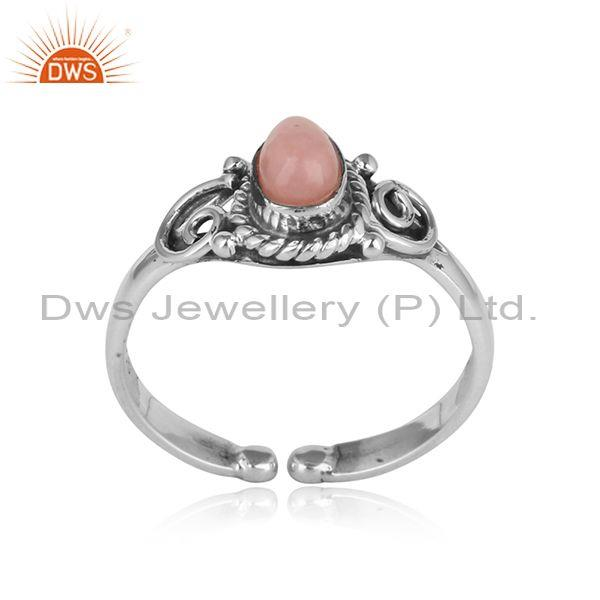 Handmade designer oxidized silver ring with pink opal