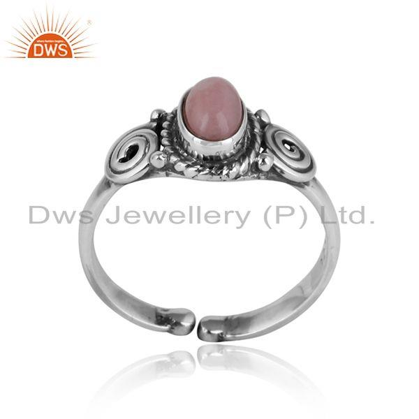 Designer handmade dainty ring in oxidized silver and pink opal