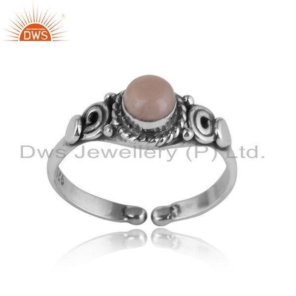 Handcrafted designer dainty pink opal ring in oxidized silver 925