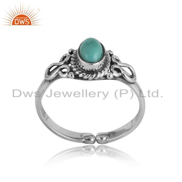 Handcrafted designer arizona turquoise ring in oxidized silver 925