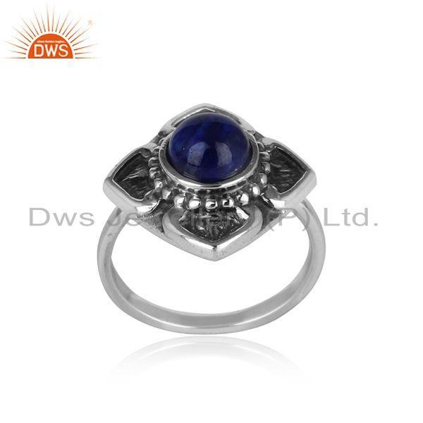 Handmade classic designer ring in oxidised silver 925 with lapis