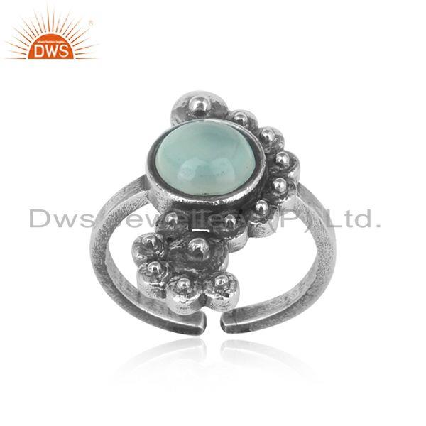 Handmade designer aqua chalcedony ring in oxidized silver 925