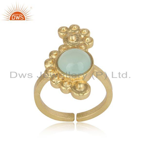 Handmade Designer Aqua Chalcedony Ring in Gold on Silver 925