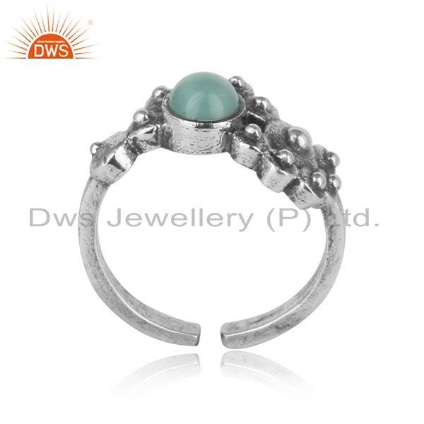 Designer dainty oxidized silver granule ring with aqua chalcedony