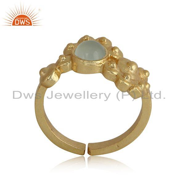 Designer Dainty Gold on Silver Granule Ring with Aqua Chalcedony