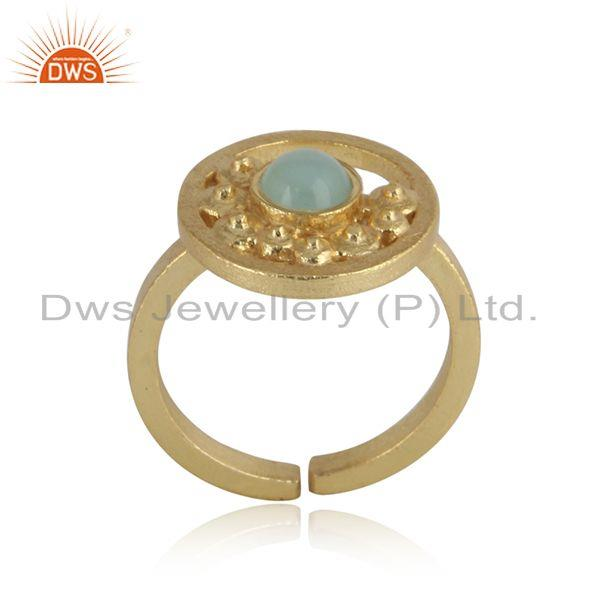 Handcrafted Designer Aqua Chalcedony Ring in Gold on Silver 925