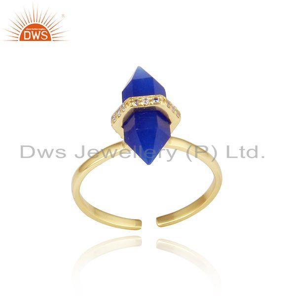 Designer blue avanturine pencil gemstone cz gold on silver ring