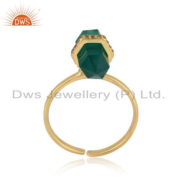 Designer green onyx pencil gemstone and cz gold on silver 925 ring