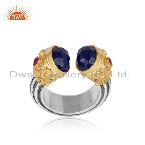 Designer gold on silver ring with peridot, ruby and sodalite