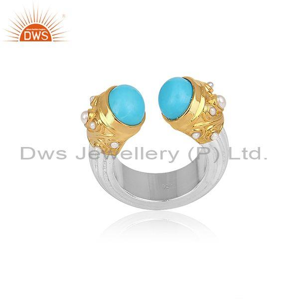 Turquoise And Pearl Set Gold On Fine Silver Designer Ring