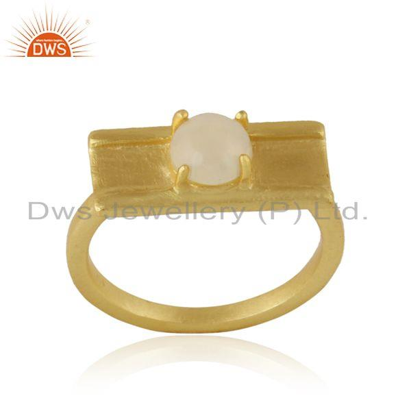 Handmade designer yellow gold on silver bar ring with ethiopian opal