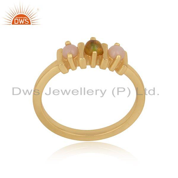 Designer bars gold on silver ring with pink and ethiopian opal