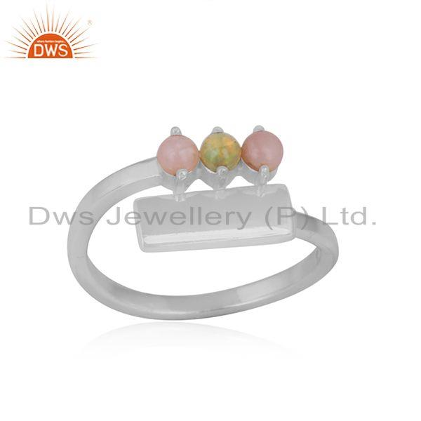 Dainty bar bypass sterling silver ring with pink and ethiopian opal