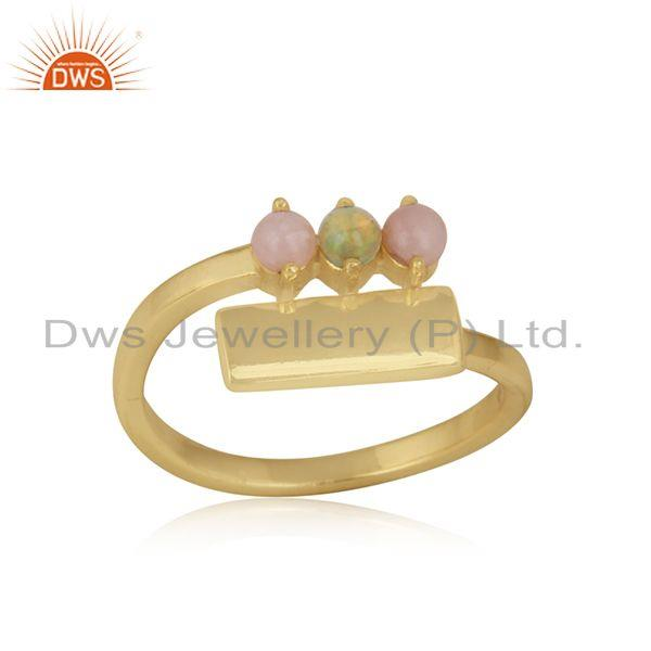 Dainty bar bypass gold on silver ring with pink and ethiopian opal