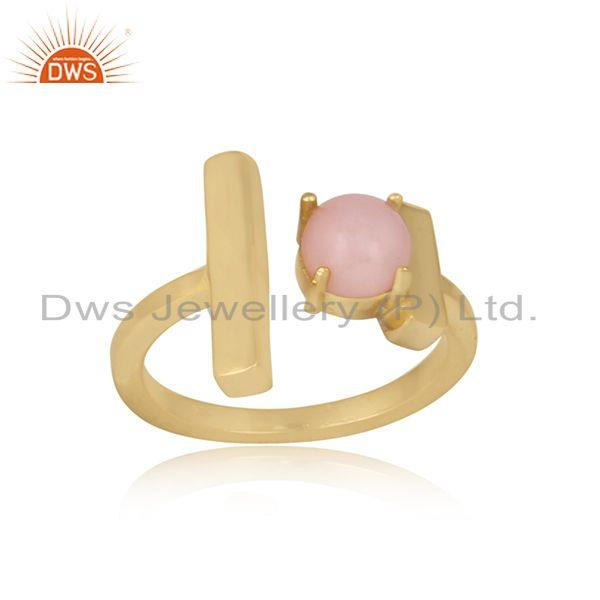 Handcrafted designer gold on silver double bar ring with pink opal