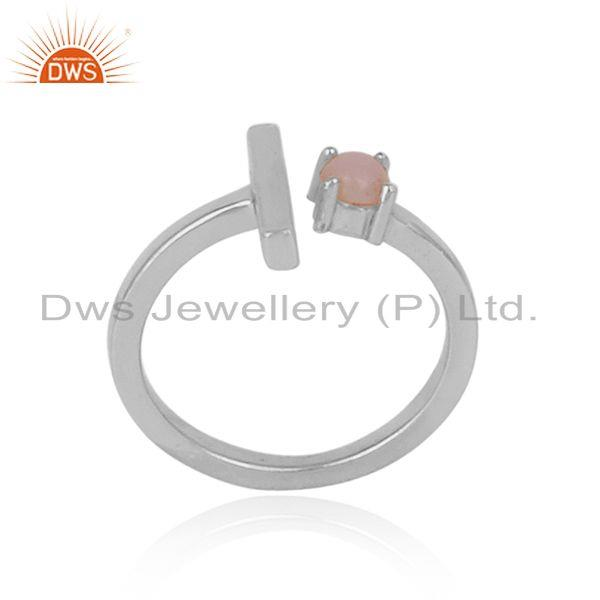 Handcrafted designer sterling silver single bar ring with pink opal