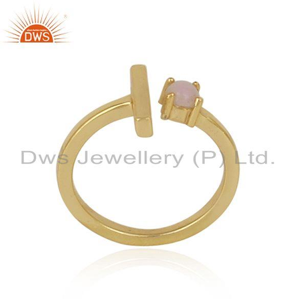 Handcrafted designer gold on silver single bar ring with pink opal