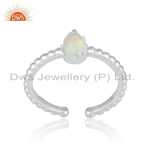 Designer Textured Dainty Sterling Silver Ring with Ethiopian Opal