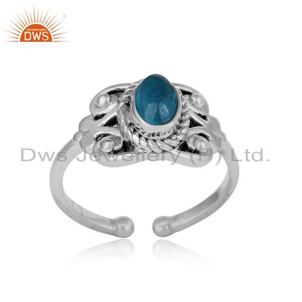 Designer bohemian oxidized on silver 925 ring with neon apatite