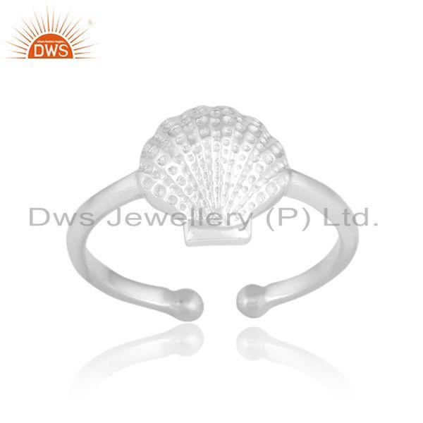 Seashell designer handcrafted textured solid silver 925 ring