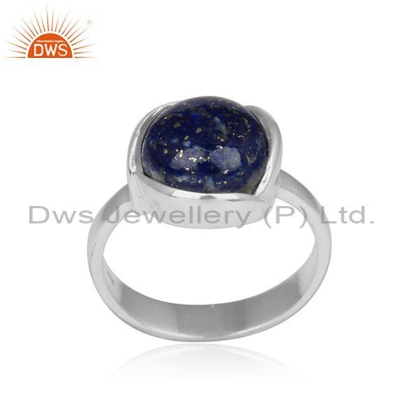 Floral Petal Designer Sterling Silver 925 Ring with Lapis