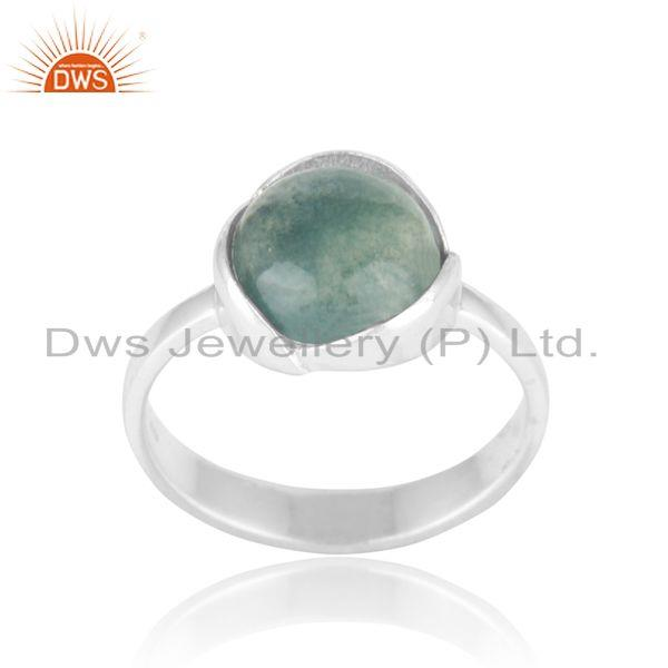 Floral Designer Sterling Silver 925 Ring with Green Moss Agate