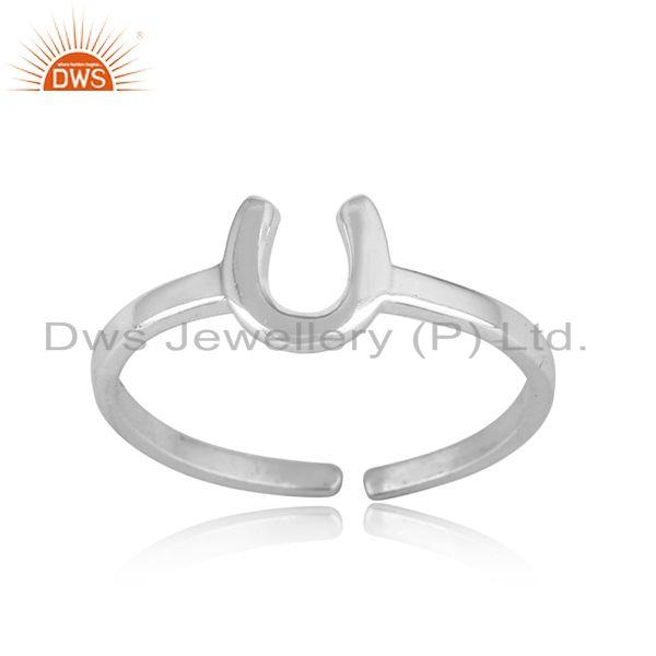 Handcrafted horseshoe designer ring in sterling silver 925