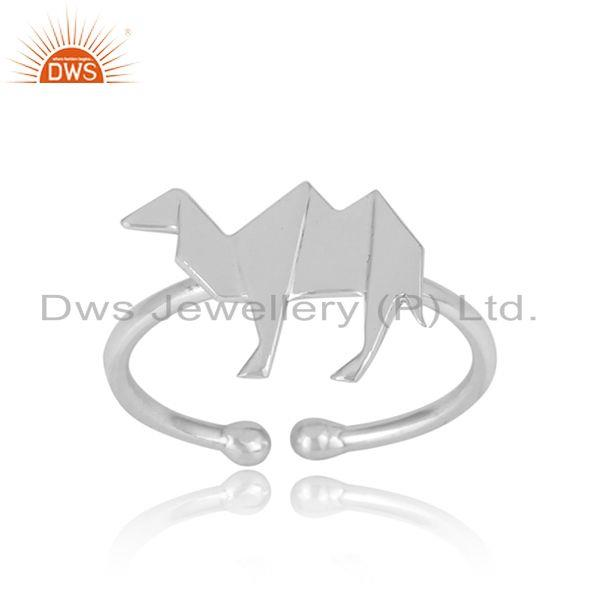 Handcrafted origami camel designer ring in sterling silver 925