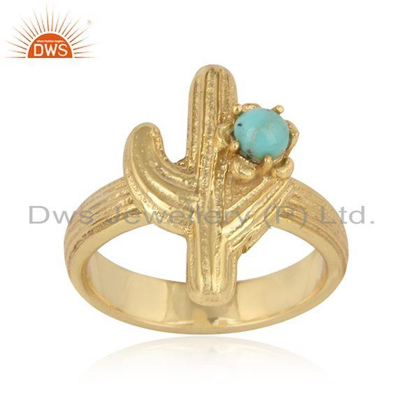 Cactus Textured Design Gold on Silver Ring with Arizona Turquoise