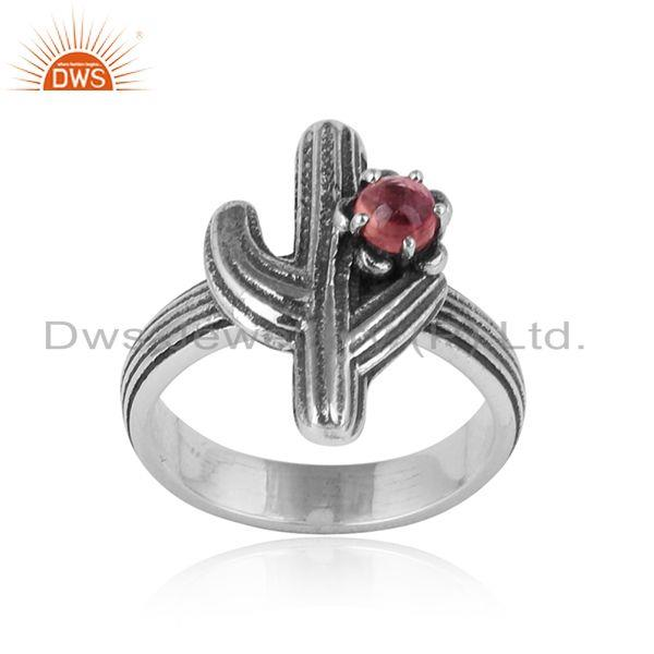 Cactus Textured Design Oxidized Silver Ring with Pink Tourmaline