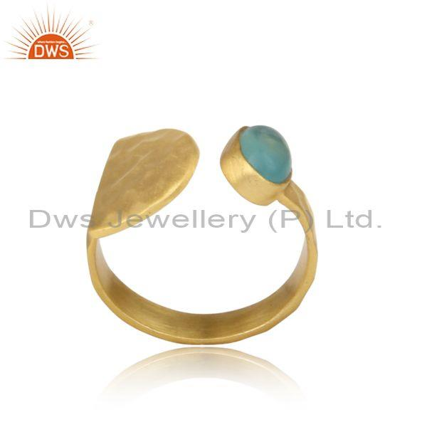 Handmade Hammered Gold on Silver 925 Ring with Aqua Chalcedony