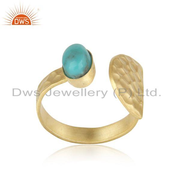 Handmade hammered yellow gold on silver ring with arizona turquoise
