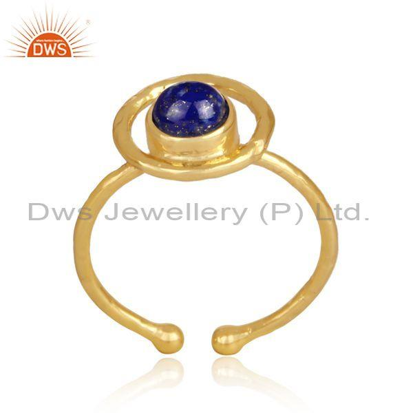 Lapis set handmade gold on sterling silver statement ring