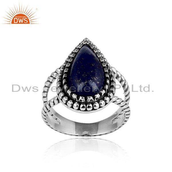 Handcrafted Twisted Design Oxidized Silver 925 Ring with Lapis