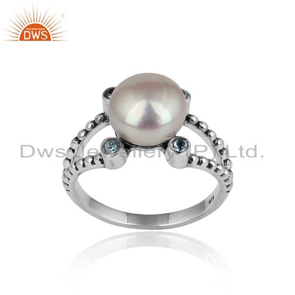 Handcrafted Designer Silver 925 Ring with Blue Topaz and Pearl