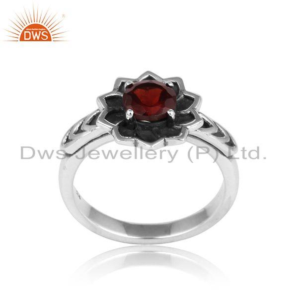 Handcrafted Floral Designer Oxidized Silver 925 Ring with Garnet