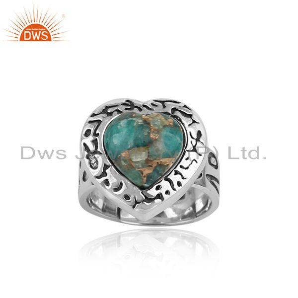 Handmade Textured Oxidized Sterling Silver Ring with Mohave Amazonite