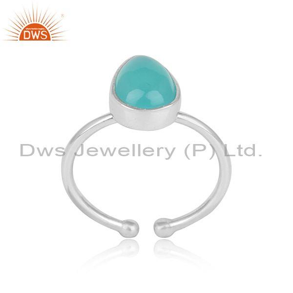 Handmade Exqiosite Sterling Silver Ring with Aqua Chalcedony