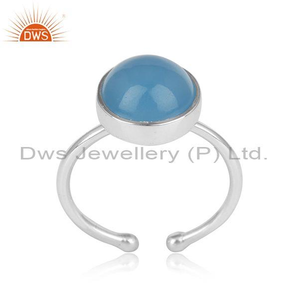 Handmade adjustable oxidized silver ring with blue chalcedony